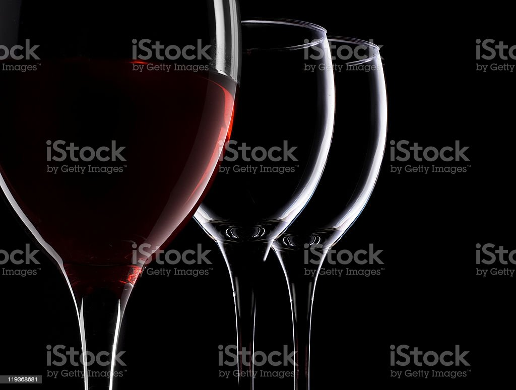 Full and empty wineglass, royalty-free stock photo