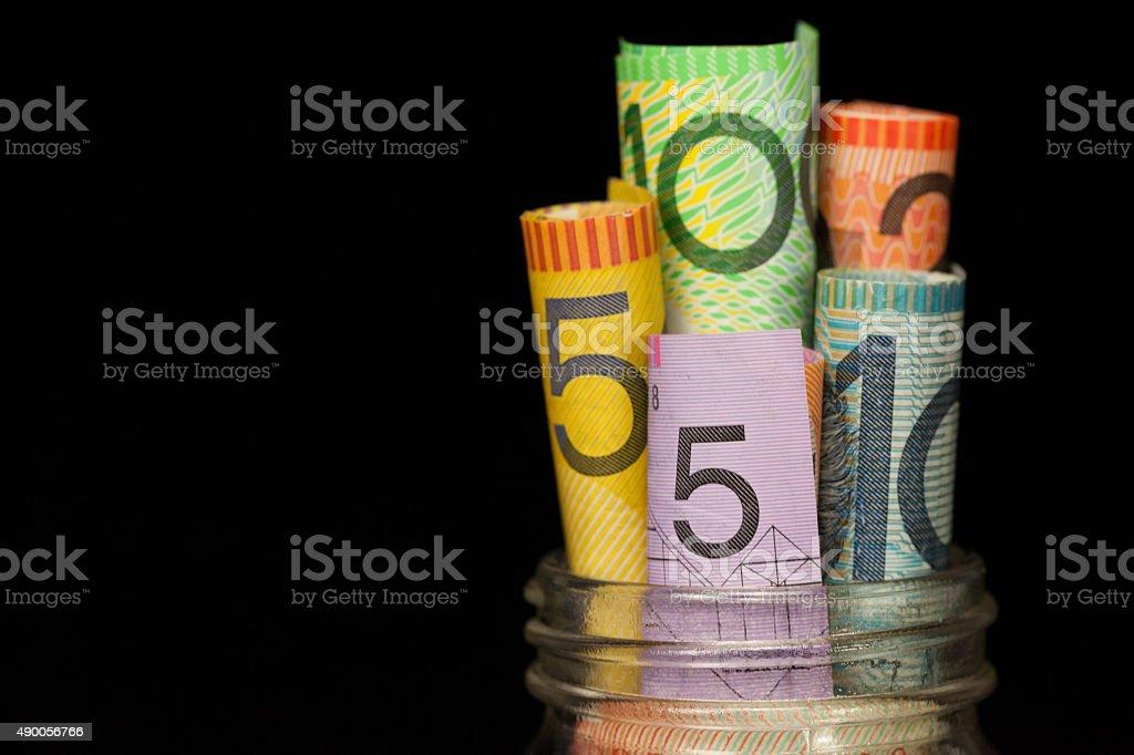 Full Australian Savings Jar stock photo