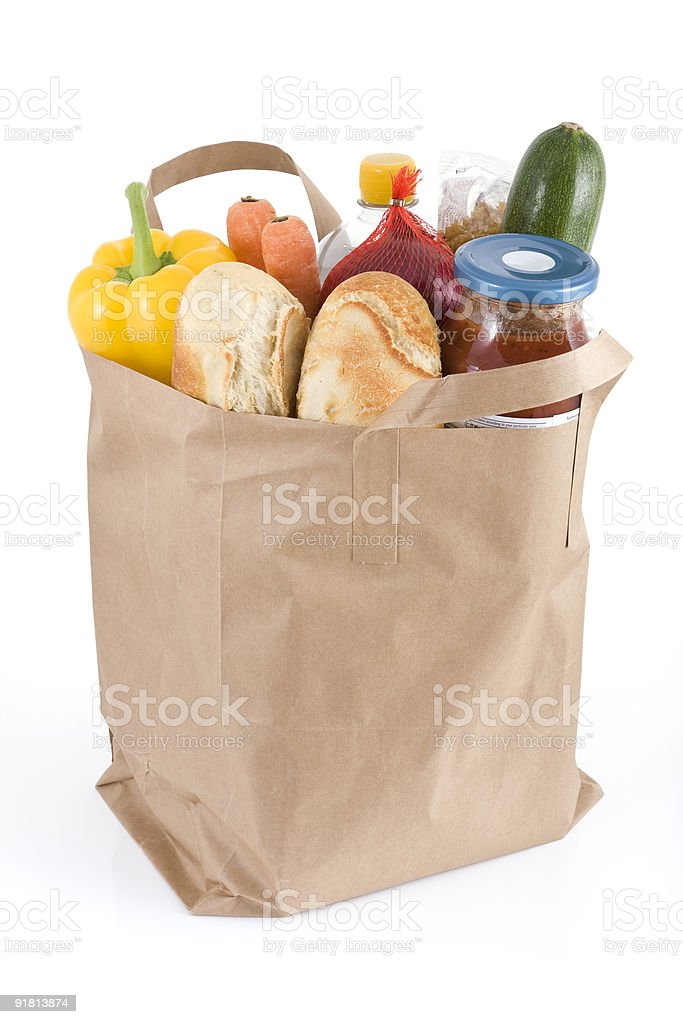 Full bag of healthy produce from grocery shop stock photo