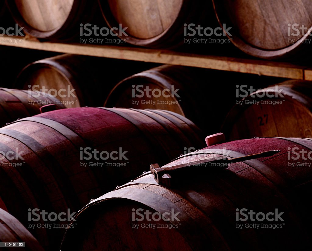 Full barrels in a winery containing red wine stock photo