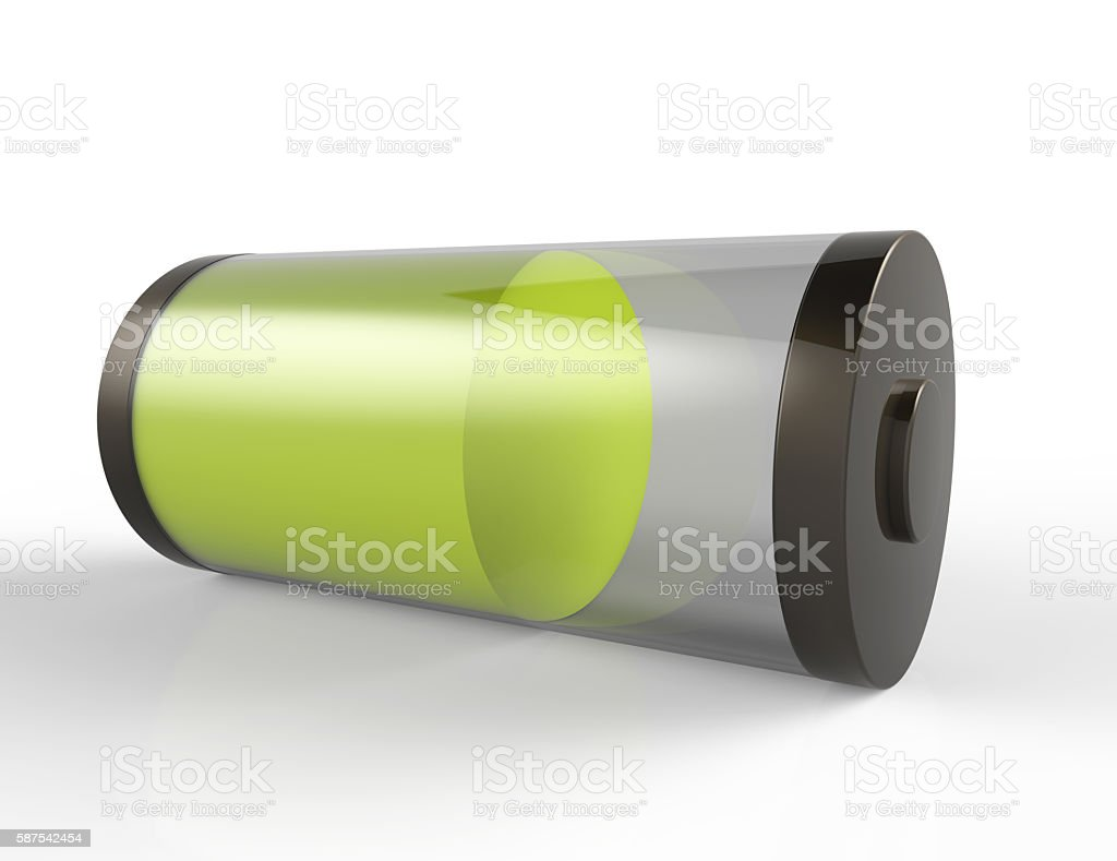 3D Full Battery symbol white isolated stock photo