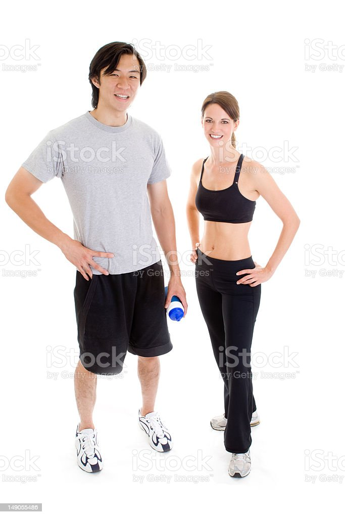 Full Body Asian Man Caucasian Woman Work-Out Isolated White Background royalty-free stock photo