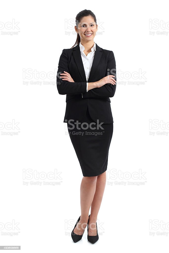 Full body of a business woman standing stock photo