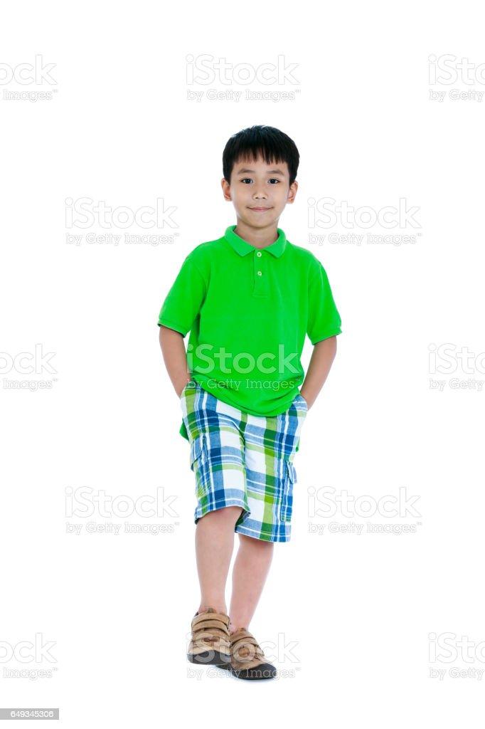 Full body of asian child smiling. Isolated on white background. stock photo