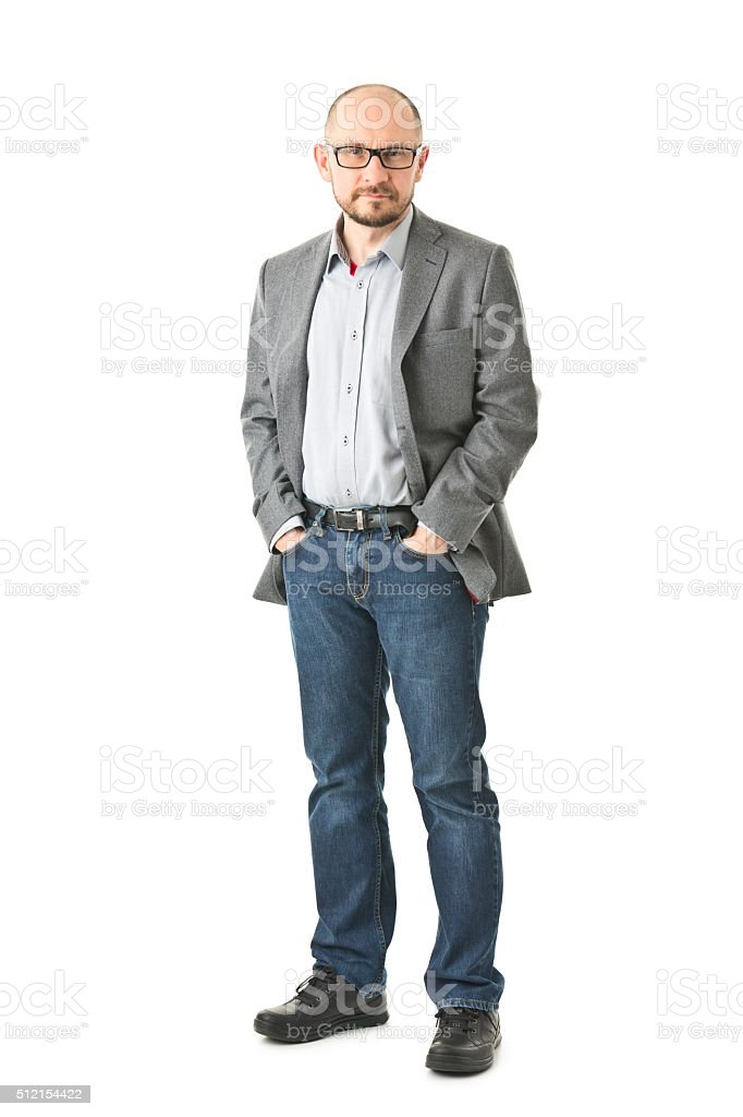 Full body picture of adult man isolated on white stock photo