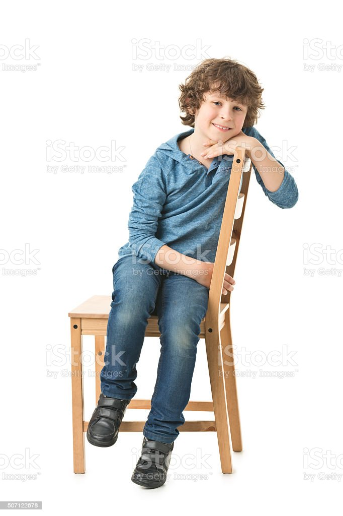full body picture of of 8 years old boy stock photo
