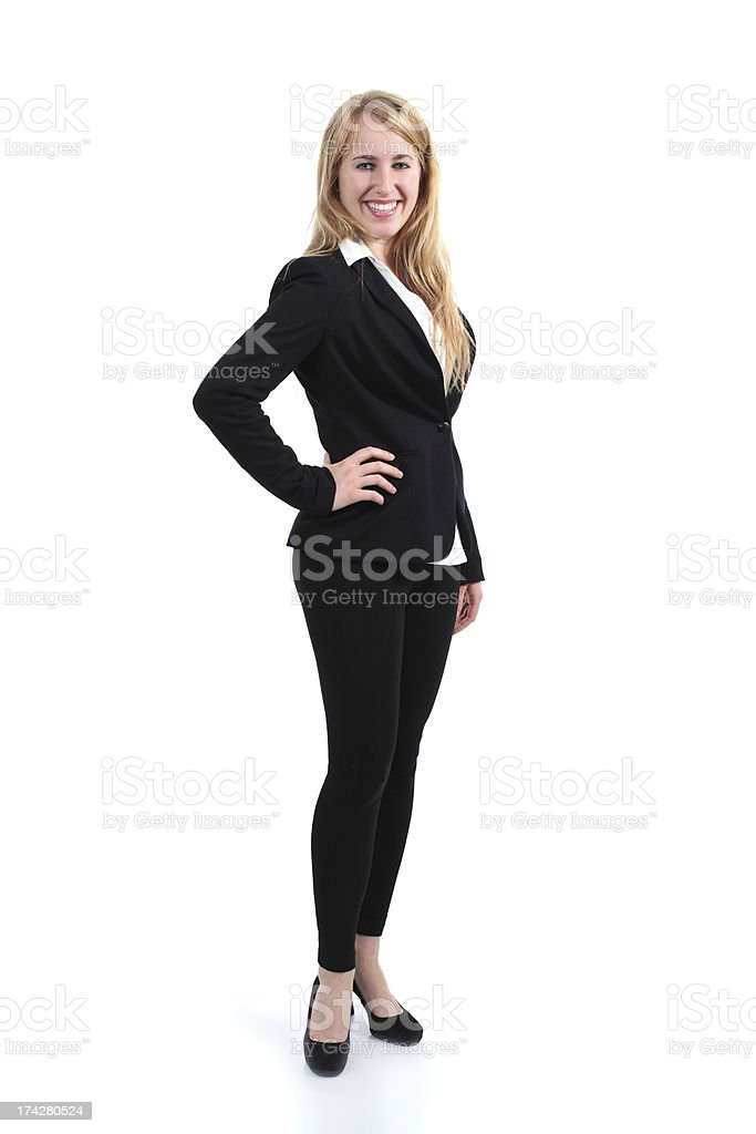 Full body portrait of a businesswoman stock photo