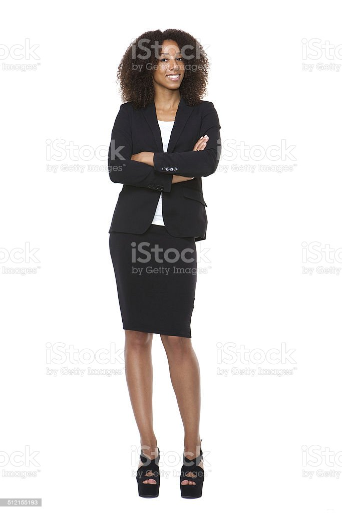 Full body portrait of a young business woman smiling stock photo