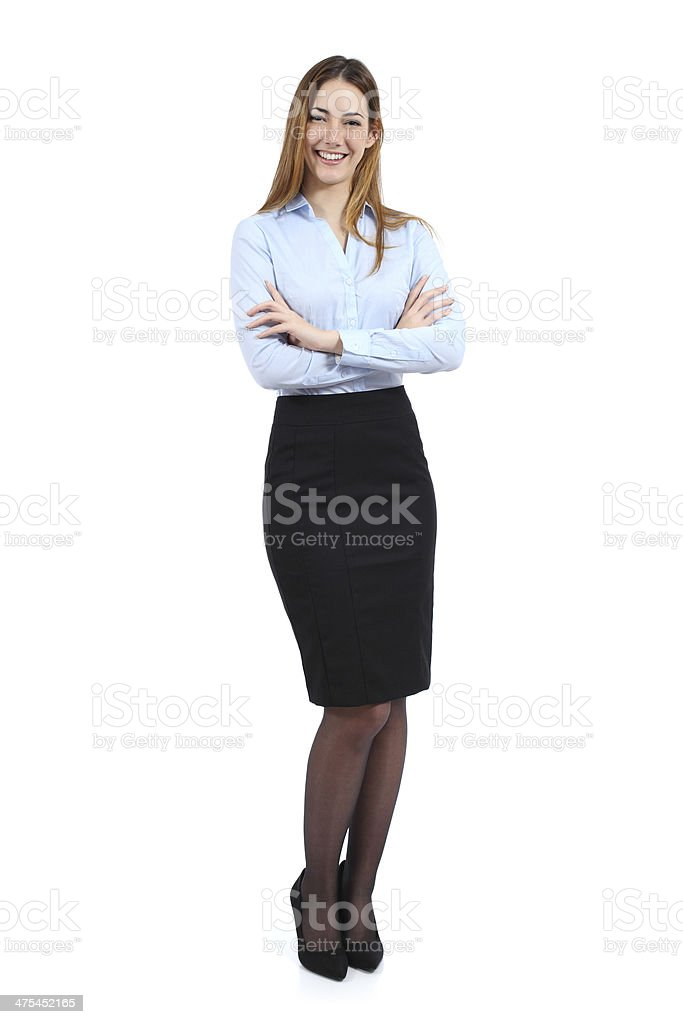Full body portrait of a young happy standing business woman stock photo