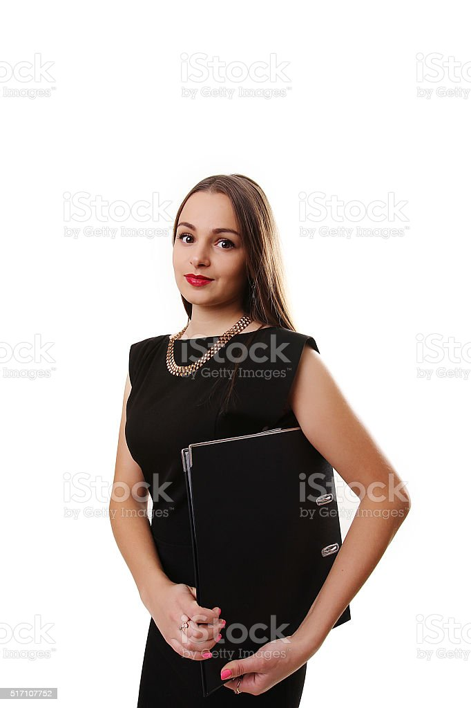 Full body portrait of happy smiling business woman with black royalty-free stock photo