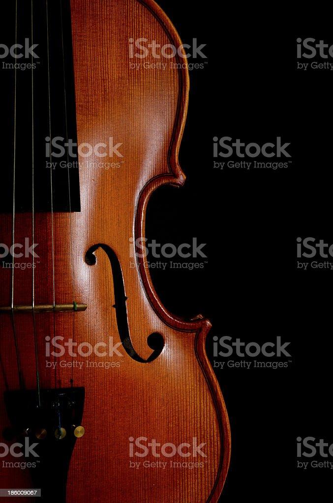Full body shape violin agaist black background stock photo