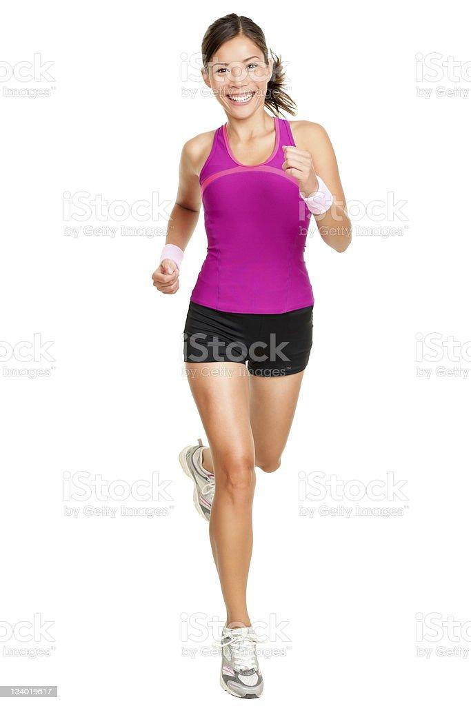 Full body shot of female runner isolated on white stock photo