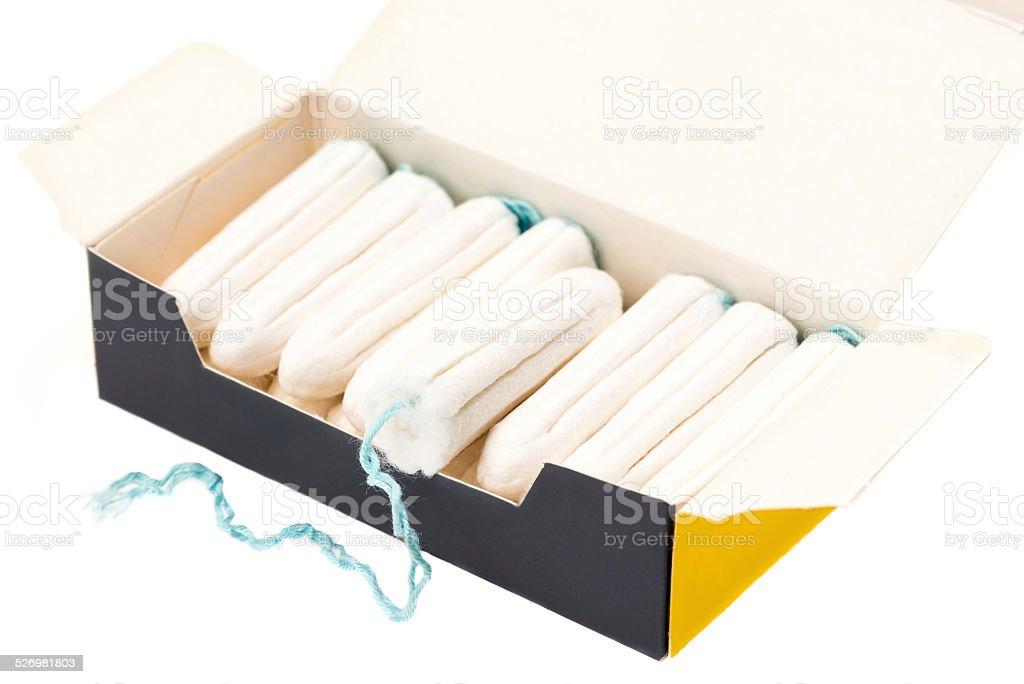 Full box of tampons stock photo
