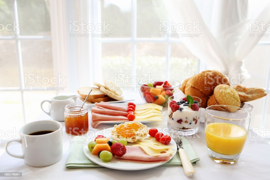 Full breakfast on a sunny day  stock photo