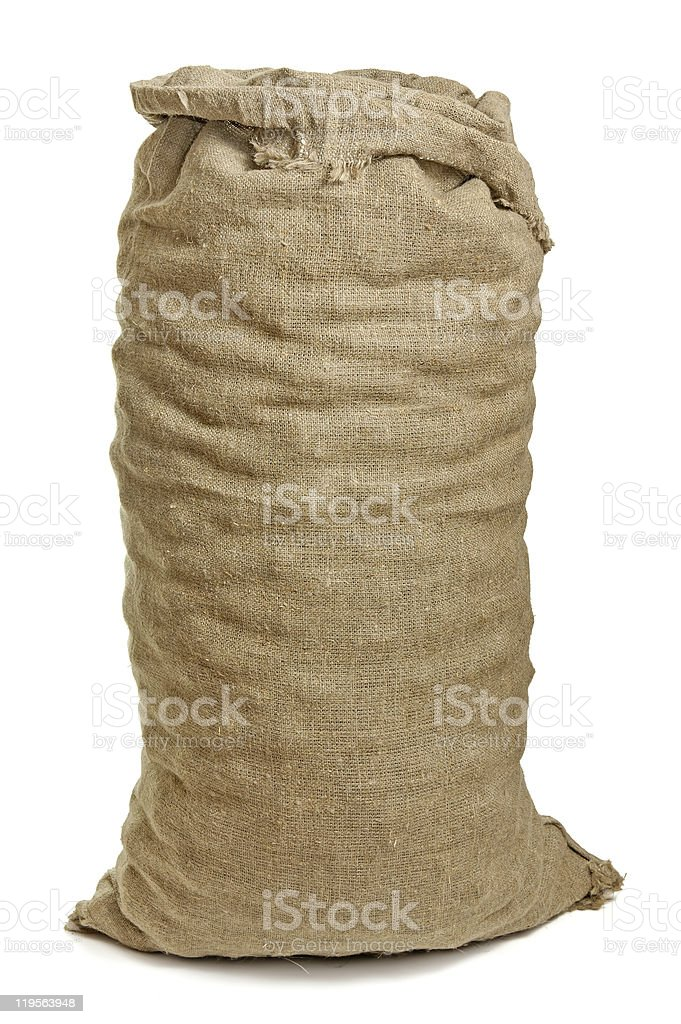A full burlap sack isolated on a white background royalty-free stock photo