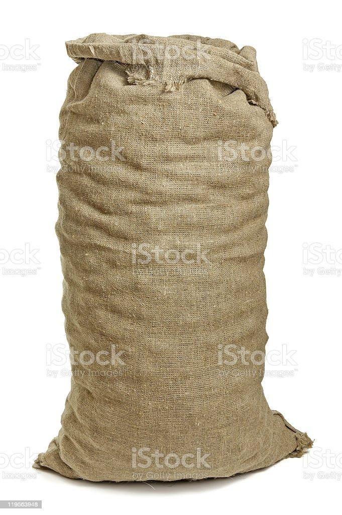 A full burlap sack isolated on a white background stock photo