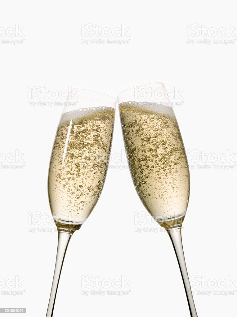 Full champagne flutes stock photo