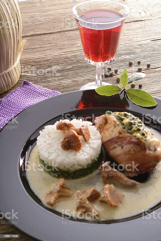 full chicken's breast with ham and spinach royalty-free stock photo
