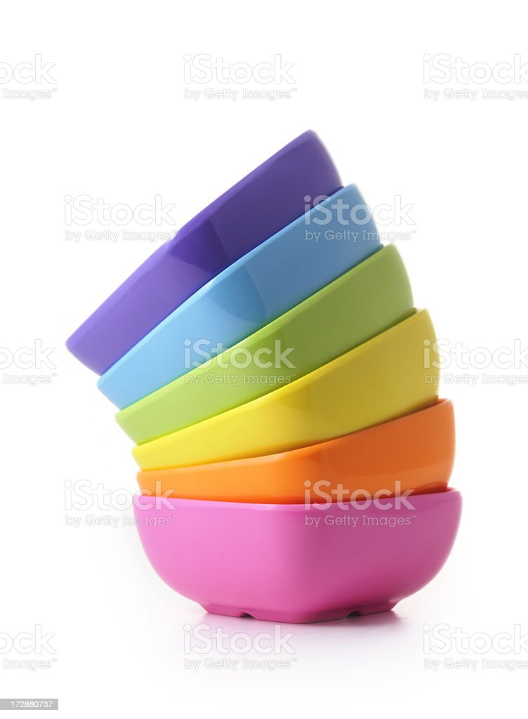 full color set of side stacked bowls stock photo