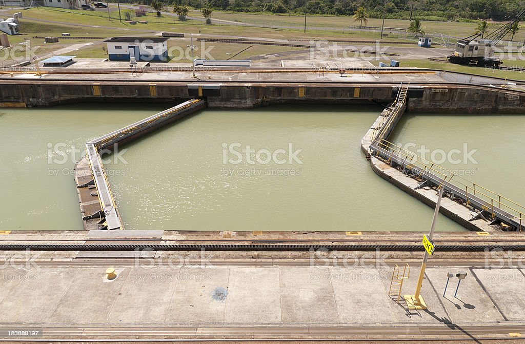Full Double Gate Lock of Gatun Panama Canal royalty-free stock photo