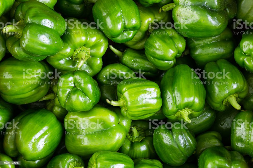 Full frame background of green peppers stock photo