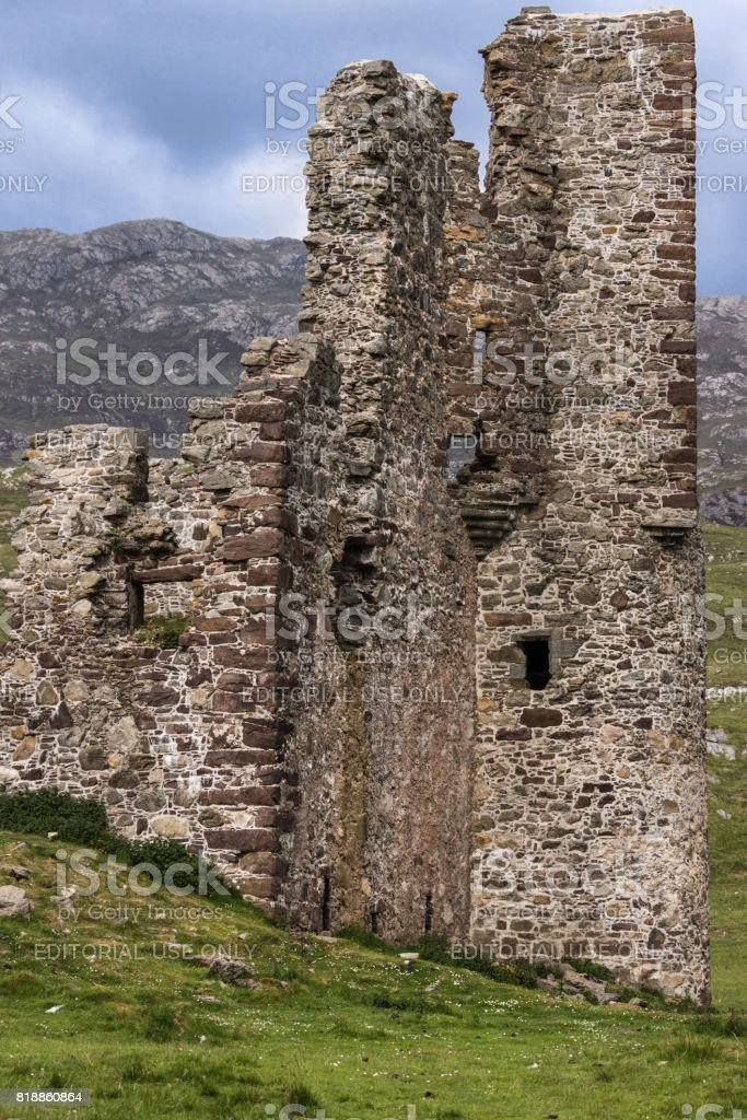 Full frame closeup of Castle Ardvreck ruins, Scotland. stock photo