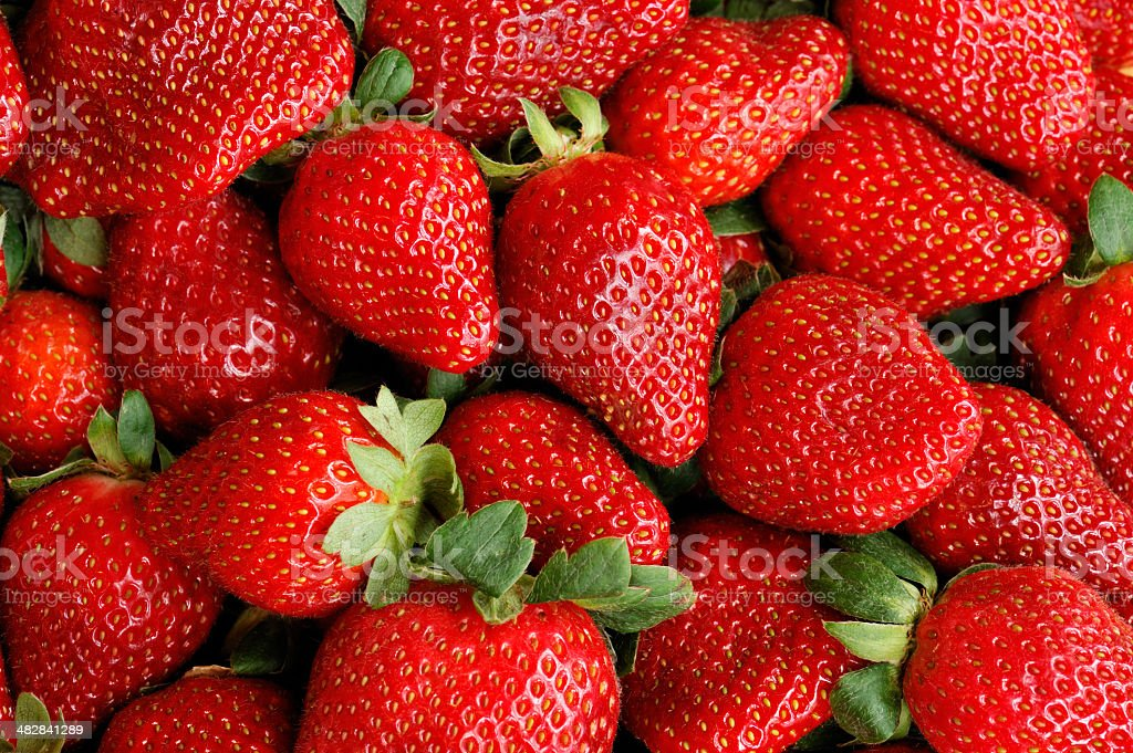 Full Frame Filled with perfectly Ripened Strawberries stock photo