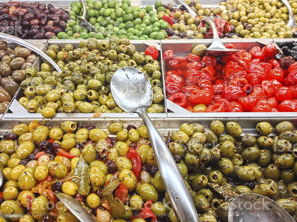 Full frame food background with olive buffet royalty-free stock photo