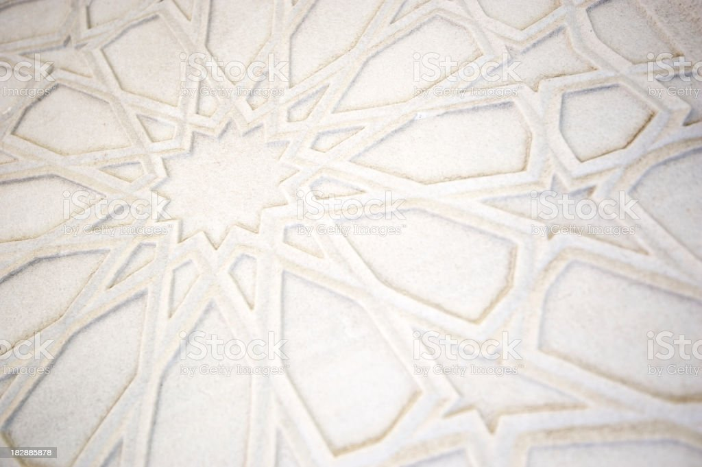 Full Frame Islamic Pattern White Marble Background stock photo