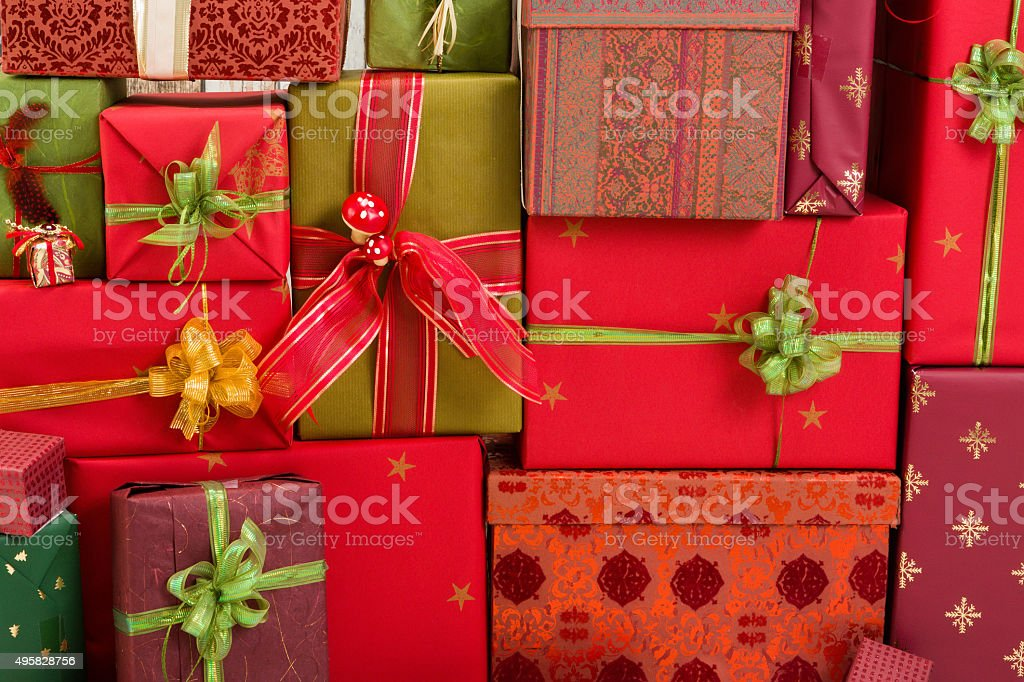 Full frame of christmas presents stock photo