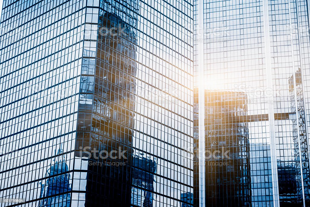 full frame of modern glass steel architecture stock photo