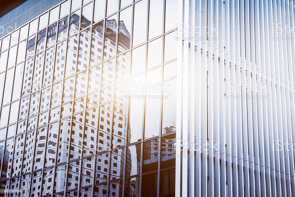 full frame of modern glass steel architecture stock photo