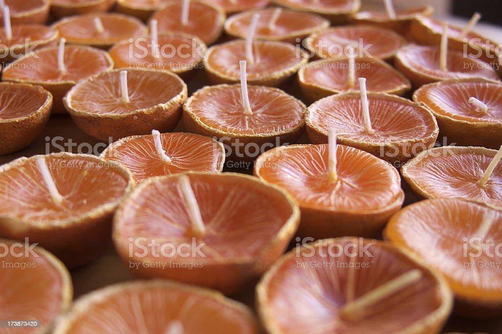 Full frame of orange shape candles stock photo