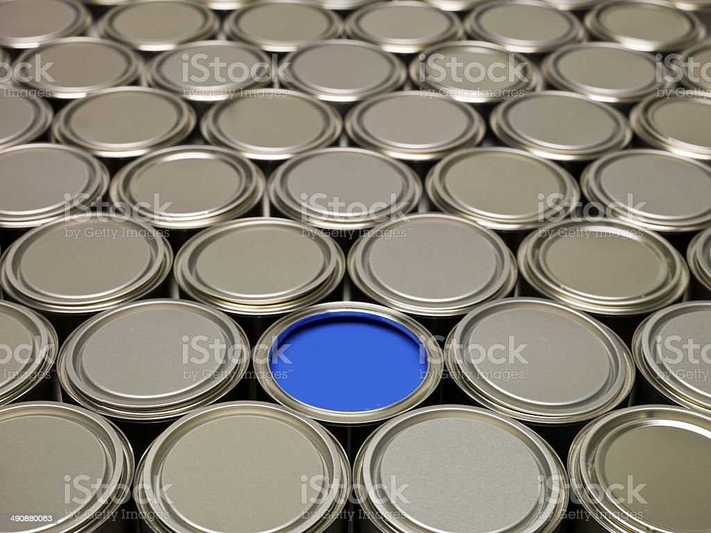Full Frame of Paint Cans stock photo
