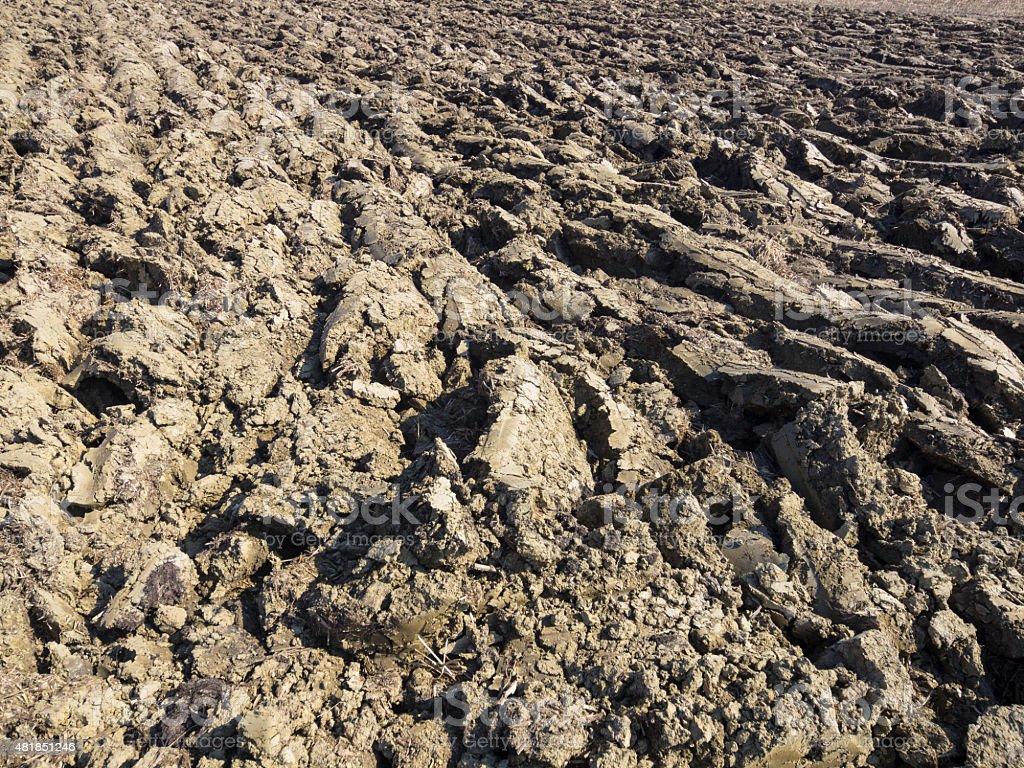 Full frame of plowed earth stock photo