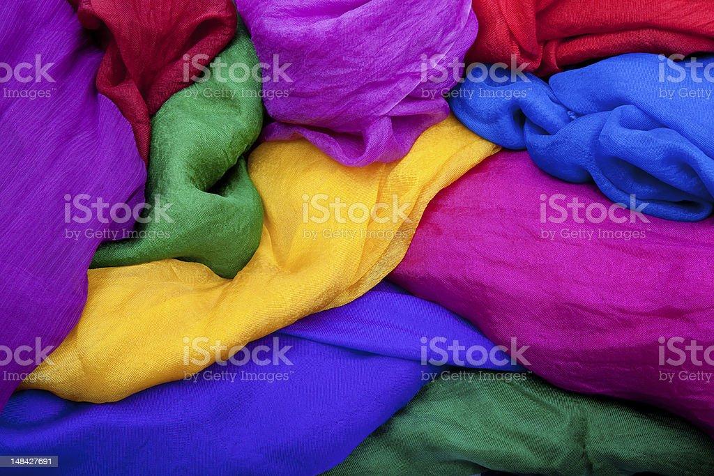 Full Frame Photo Of Multicolored Silk Fabrics royalty-free stock photo