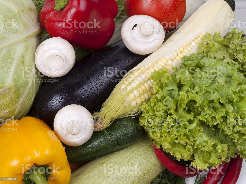 Full frame photograph of a broad variety  vegetables; colorful royalty-free stock photo