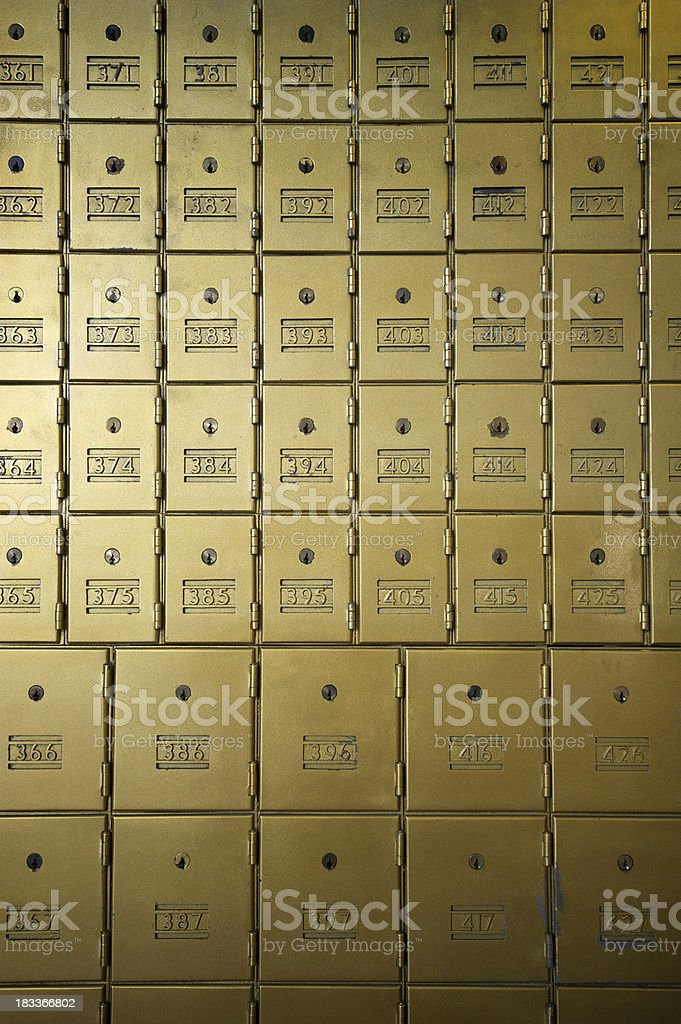 Full Frame Safety Deposit Boxes in Brass royalty-free stock photo