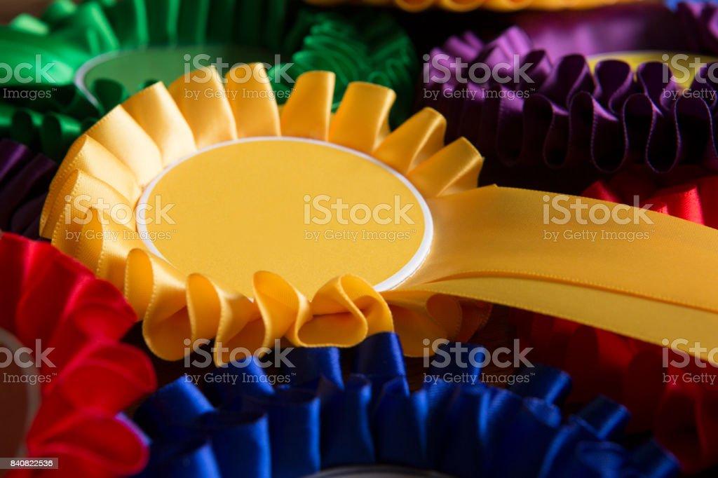 Full Frame Shot Of Colourful Political Rosettes stock photo