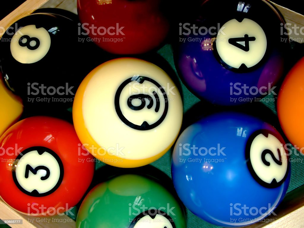 Full frame top view background of billiard balls and rack royalty-free stock photo