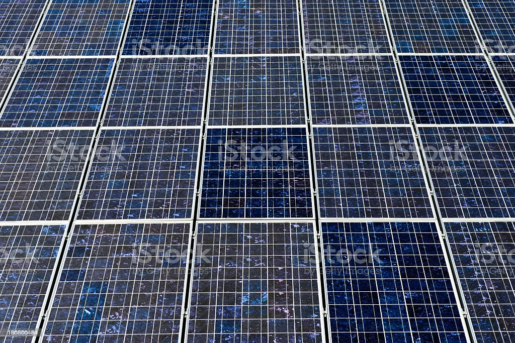 Full frame view of solar panels - with many copyspace stock photo