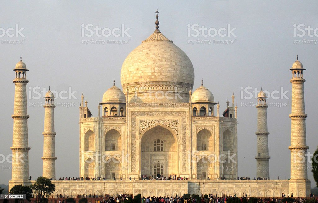 full frame view of Taj Mahal, with people crowd stock photo