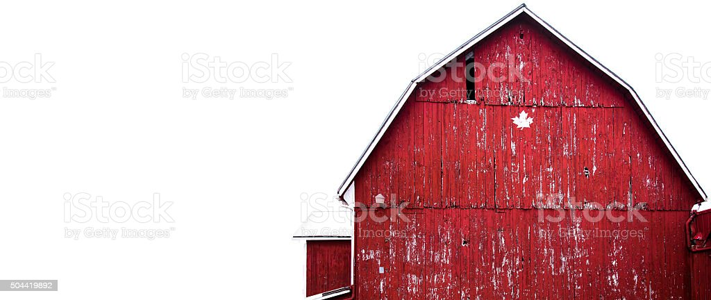 Full front of red barn with canadian maple leaf stock photo