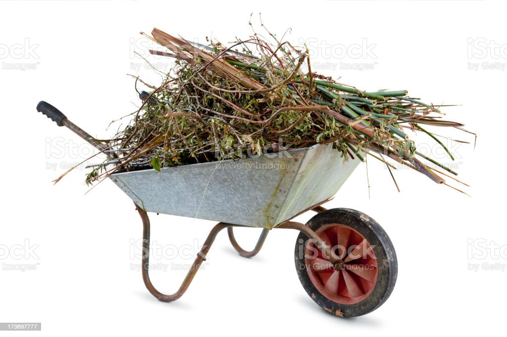 Full Garden Wheelbarrow stock photo