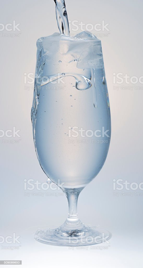 Full Glass of Water with Ice stock photo