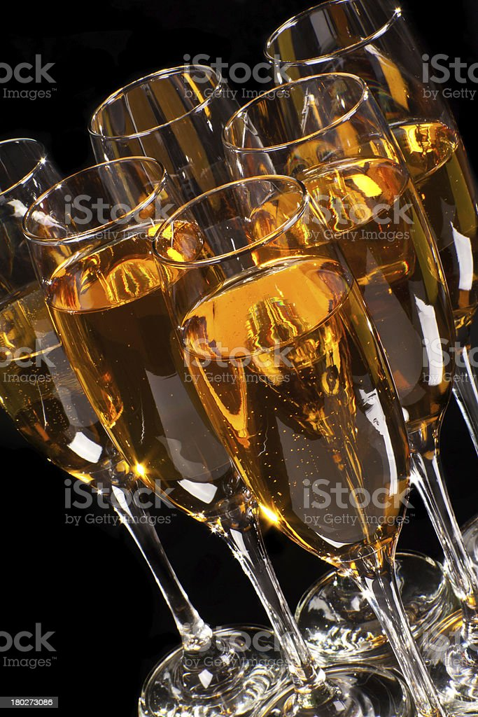 full glasses of champagne stock photo