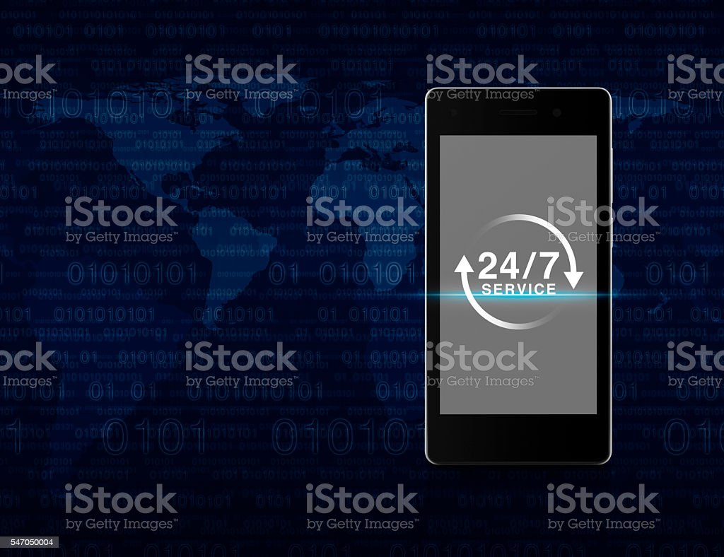 Full hours service icon on phone screen, Full time service concept stock photo