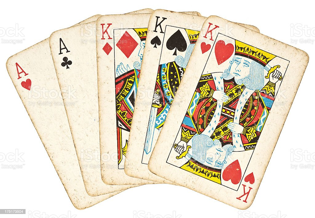 Full House - Hand of Cards stock photo