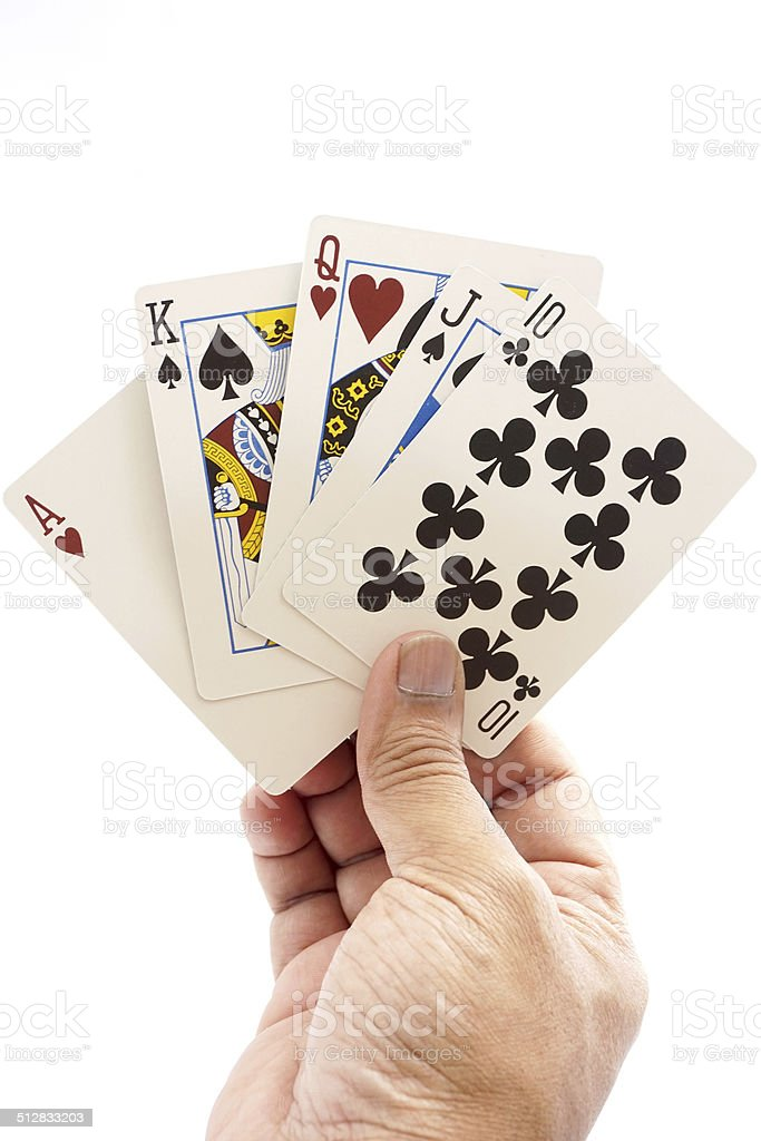 Full House in a hand isolated on a white background. stock photo
