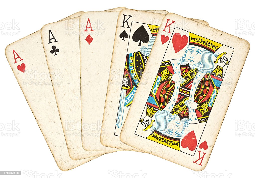 Full House - Poker Hand stock photo